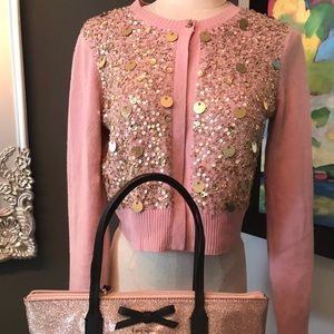 Gorgeous pink cashmere Robert Rodriguez cardigan.